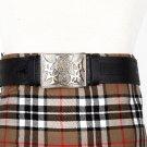 Traditional Scottish Leather Black Kilt Belt -Rampant Loin Celtic Embossing - Free Buckle Size 38