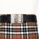 Traditional Scottish Leather Black Kilt Belt -Rampant Loin Celtic Embossing - Free Buckle Size 46