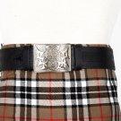 Traditional Scottish Leather Black Kilt Belt -Rampant Loin Celtic Embossing - Free Buckle Size 54