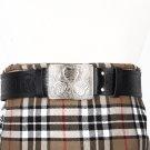 Traditional Scottish Leather Black Kilt Belt -Thistle Celtic Embossing - Free Buckle Size 32