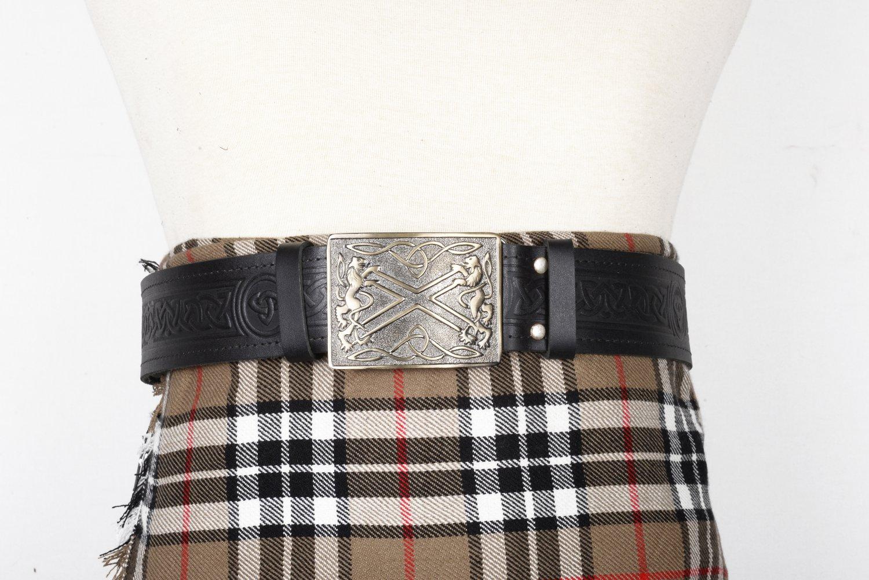 Traditional Scottish Leather Black Kilt Belt -Trinity Knot Celtic Embossing - Free Buckle Size 42
