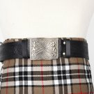 Traditional Scottish Leather Black Kilt Belt -Trinity Knot Celtic Embossing - Free Buckle Size 46