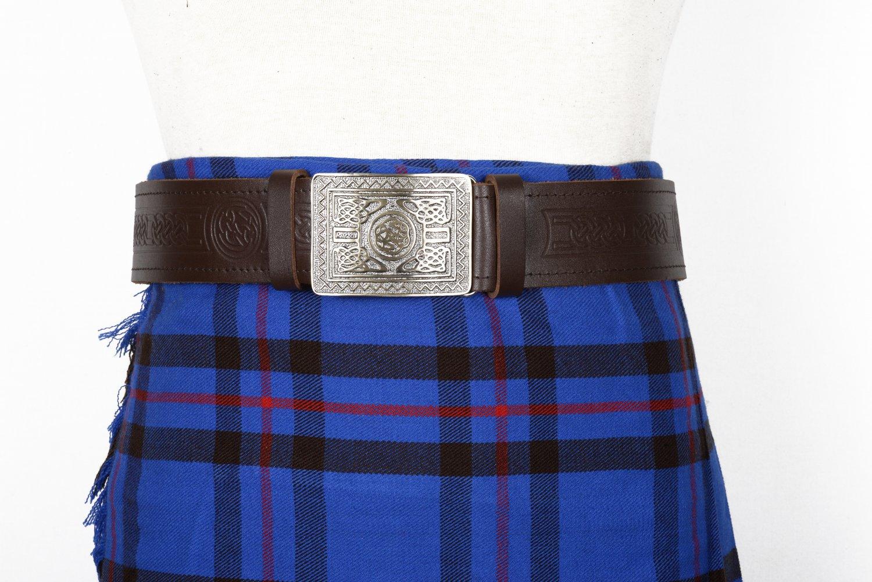 Traditional Scottish Leather Brown Kilt Belt -Celtic Knot Embossing - Free Buckle Size 40