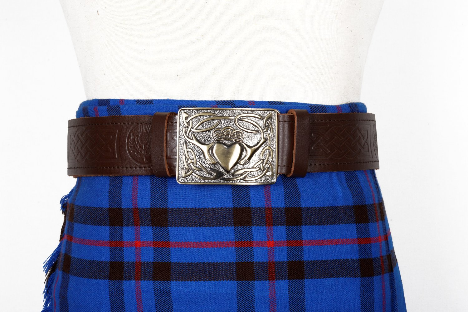 Traditional Scottish Leather Brown Kilt Belt -Thistle Celtic Embossing - Free Buckle Size 54