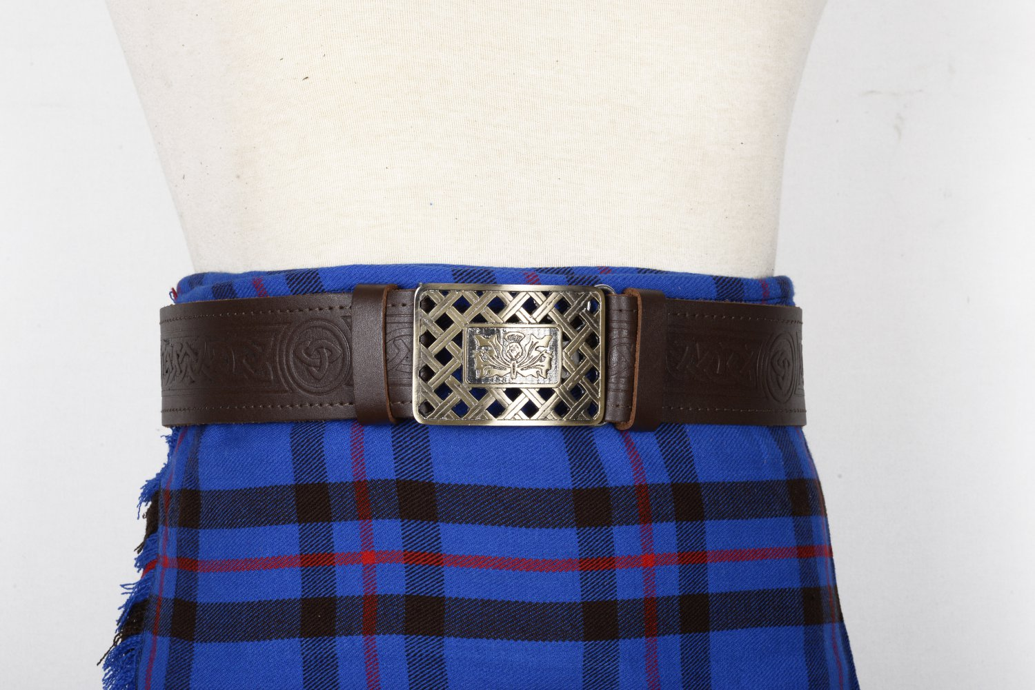 Traditional Scottish Leather Brown Kilt Belt -trinity Knot Celtic Embossing - Free Buckle Size 52