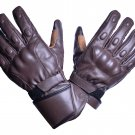 MOTOR-BIKE RACING Safety GLOVES Genuine Leather Brown Color Size XS