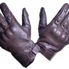 MOTOR-BIKE RACING Safety GLOVES Genuine Leather Brown Color Size S
