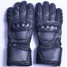 MOTOR-BIKE RACING Safety GLOVES Genuine Leather Black Color Size L