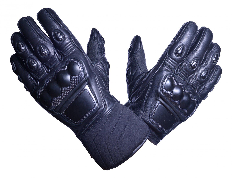 MOTOR-BIKE RACING Safety GLOVES Genuine Leather Black Color Size 3XL