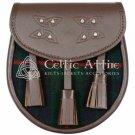 Premium - Brown Leather - Clan Gunn Tartan - Scottish DAY SPORRAN
