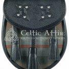Premium - Black Leather -Clan Mackenzie - Scottish DAY SPORRAN
