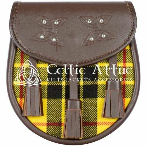 Premium - Brown Leather - Clan Macleod Tartan - Scottish DAY SPORRAN