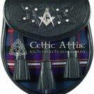 Premium - Black Leather - MASONIC Tartan Scottish Day Sporran - KILT SPORRAN