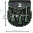 Scottish Clan Semi Dress Black and Tree Green Endings Leather Shamrock Sporran