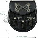 Rampant Lion Emblem - Scottish Semi Dress Bovine Fur & Black Leather Sporran