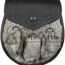 Handmade Brown Rabbit Fur Semi Dress Scottish KILT SPORRAN Belt And Chain