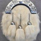Scottish Full Dress Kilt Sporran White Rabbit Fur chrome Celtic Cantle