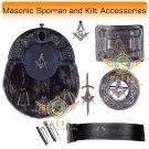 Scottish KILT  Masonic Design SPORRAN Seal Skin with Kilt Accessories Belt Size 38