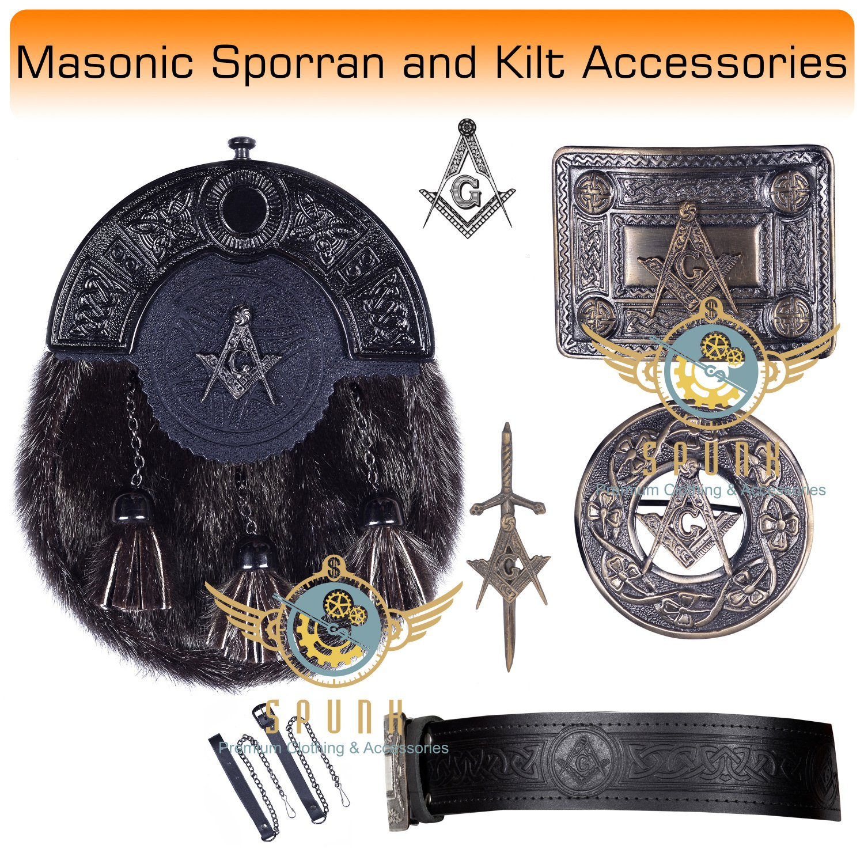 Scottish KILT  Masonic Design SPORRAN Seal Skin with Kilt Accessories Belt Size 40