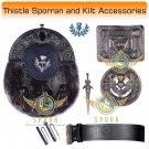 Scottish KILT  Thistle Design SPORRAN Seal Skin with Kilt Accessories Belt Size 38