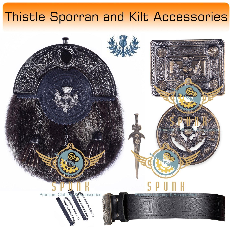 Scottish KILT  Thistle Design SPORRAN Seal Skin with Kilt Accessories Belt Size 50