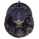 Scottish Black Leather Masonic Design KILT SPORRAN Seal Skin With Free Belt & Chain