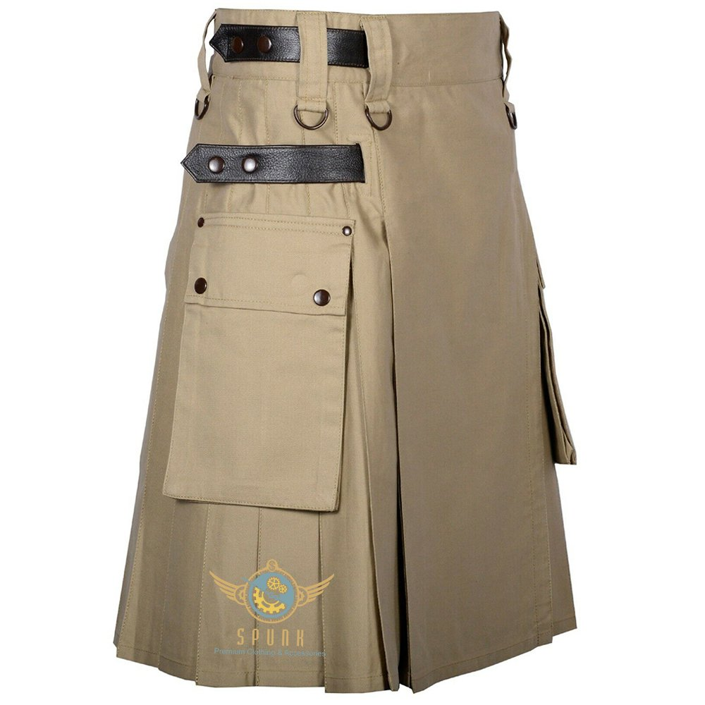 Men Scottish Working Khaki Utility KILT Deluxe KILTS 100% Cotton With Cargo Pockets Size 46