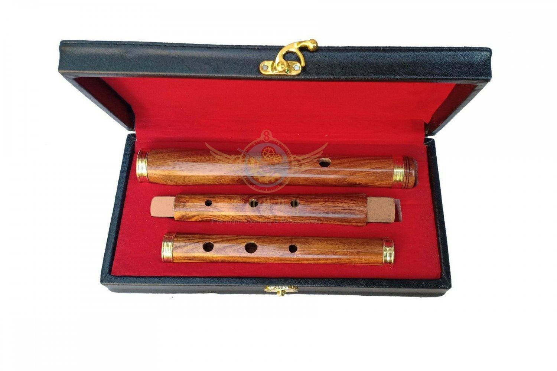 "Irish Rose Wood 3 piece Irish Celtic Student D Flute WITH WOOD CASE, 3 PART, 23"" SIZE,"