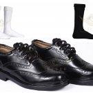 Men's Scottish Leather Ghillie Brogues kilt shoes  100% Black Leather Kilt Boots With Kilt Socks