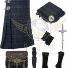 Scottish Black Watch 8 Yard Kilt Traditional Tartan Kilt For Men With Free Accessories