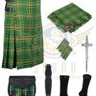 Men's Scottish Irish 8 Yard Traditional Irish Tartan Kilt For Men - Free Accessories