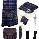 Men's Scottish Pride of Scotland 8 Yard Kilt Traditional Tartan Kilt For Men Deal Set