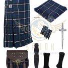 Scottish Blue Douglas 8 Yard Kilt Traditional Douglas Tartan Kilt For Men Deal Set