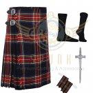 Handmade Scottish 8 Yard Black Stewart TARTAN KILT with Free Accessories size 40