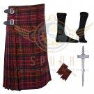 Handmade Scottish 8 Yard MacDonald TARTAN 8 yard KILT with Free Accessories