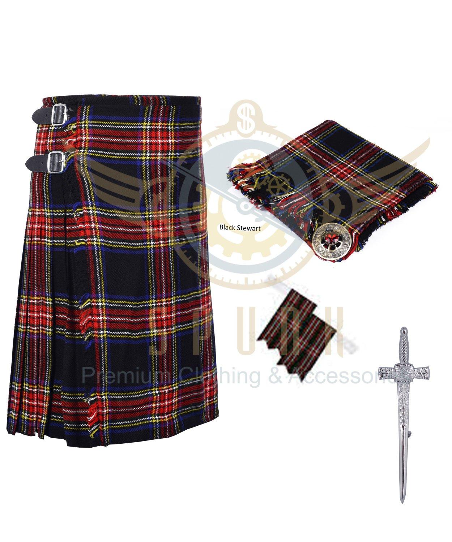 8 Yard Traditional Scottish Kilt For Men Black Stewart- Free Accessories Size 46