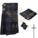 8 Yard Traditional Scottish Kilt For Men Grey Watch Tartan- Free Accessories Size 46