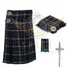 8 Yard Traditional Scottish Kilt For Men Mackenzie Tartan- Free Accessories