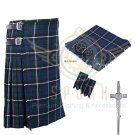8 Yard Traditional Scottish Kilt For Men Blue Douglas Tartan- Free Accessories