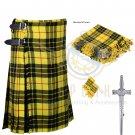 8 Yard Traditional Scottish Kilt For Men McLeod of Lewis Tartan- Free Accessories Size 32