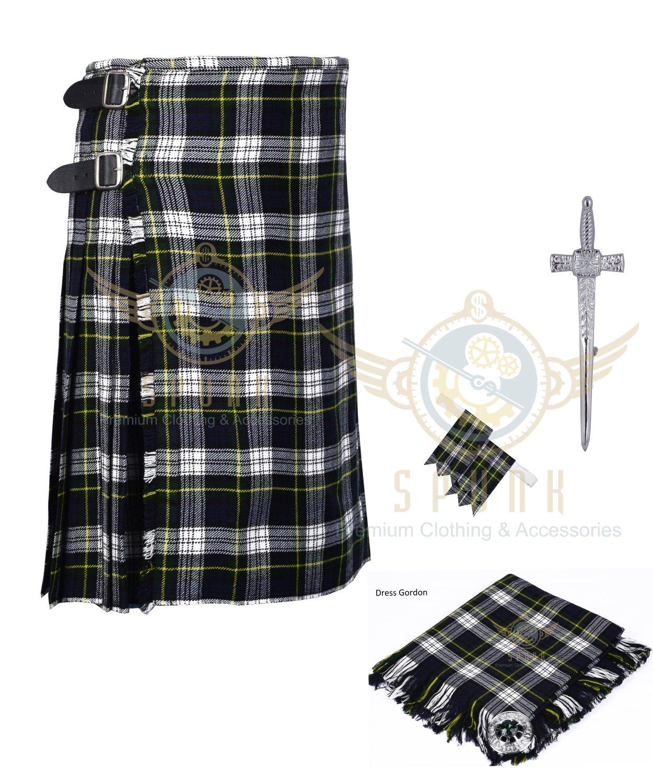 8 Yard Traditional Scottish Kilt For Men Dress Gordon Tartan- Free Accessories