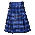 Scottish Men's Modern utility kilt - Cargo Pockets Kilt Ramsey Blue Tartan