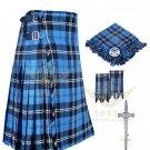 Mens Scottish 8 Yard KILT Traditional 8 yard Ramsey Blue Hunting Tartan KILT & Accessories