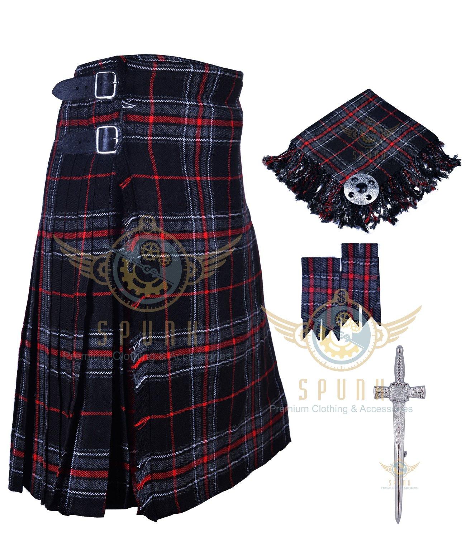 Mens Scottish 8 Yard KILT Traditional 8 yard Spirit of Bruce Tartan KILT & Accessories Size 32