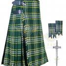 Mens Scottish 8 Yard KILT Traditional 8 yard St-Patrick tartan KILT & Accessories
