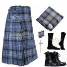 Mens Scottish 8 Yard KILT Traditional 8 yard Hamilton Grey Tartan KILT & Accessories