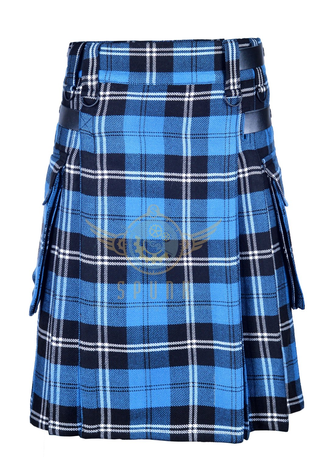 Scottish Men's Modern utility kilt - Two Cargo Pockets Kilt Ramsey blue Hunting Tartan  Size 54