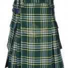 Scottish Men's Modern utility kilt - Two Cargo Pockets Kilt St-Patrick Tartan