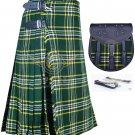 Scottish 8 Yard TARTAN KILT Highland Traditional Kilt ST-Patrick with free Sporran