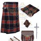 Mens Scottish 8 Yard KILT Traditional 8 yard KILT Black Stewart & Free Accessories